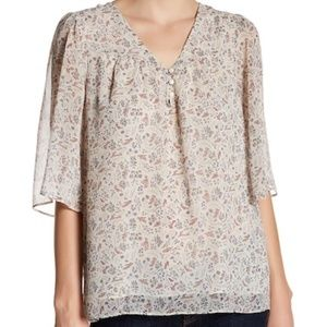 Pleione Bhatia Floral Blouse Flutter Sleeves XL